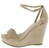 Ode9 Nude Open Toe Side Cut Ankle Strap Platform Wedge - Wholesale Fashion Shoes