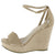 Ode9 Nude Open Toe Side Cut Ankle Strap Platform Wedge