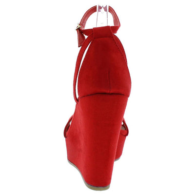 Ode9 Red Open Toe Side Cut Ankle Strap Platform Wedge - Wholesale Fashion Shoes