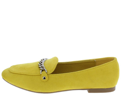 Odelia01 Mustard Almond Toe Silver Chain Loafer Flat - Wholesale Fashion Shoes