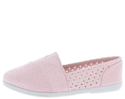 Odells Light Pink Eyelet Espadrille Slide on Flat - Wholesale Fashion Shoes