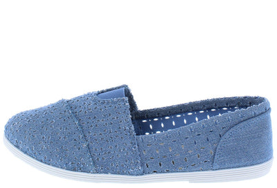 Odells Light Blue Eyelet Espadrille Slide on Flat - Wholesale Fashion Shoes