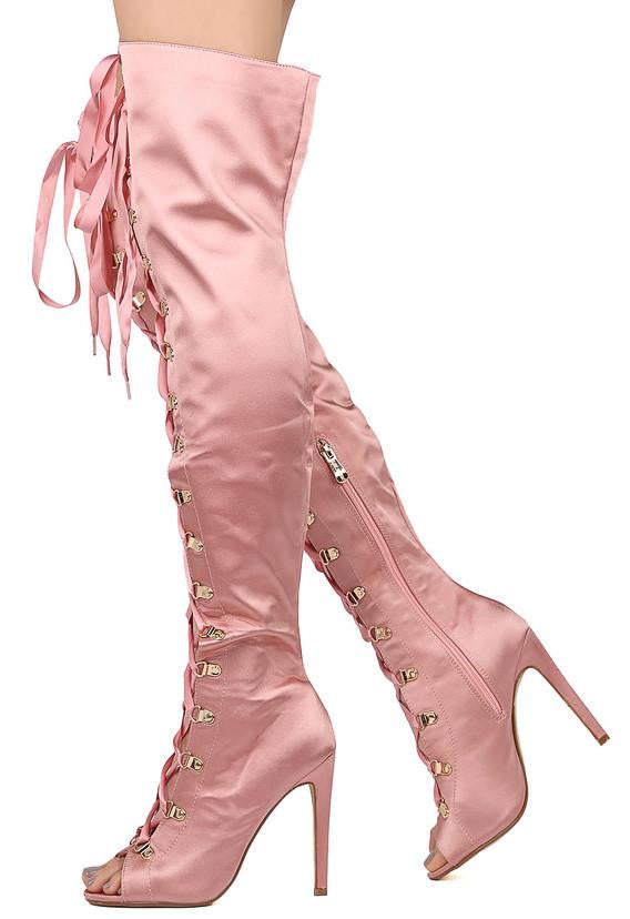 26e51d25631 Olga pink satin lace up thigh high stiletto boot wholesale fashion shoes  jpg 568x828 Pink thigh