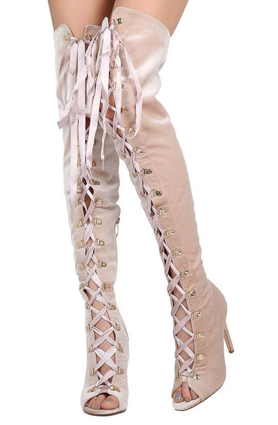 Olga27 Dusty Rose Peep Toe Lace Up Thigh High Stiletto Boot - Wholesale Fashion Shoes