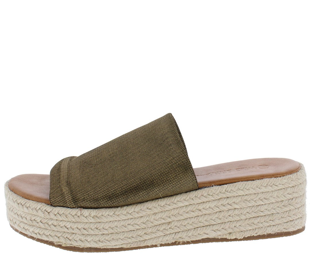 7aa13ba149f Olivia01 Gold Fabric Open Toe Mule Espadrille Wedge