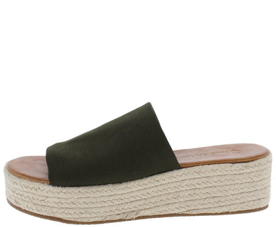 Olivia01 Olive Fabric Open Toe Mule Espadrille Wedge - Wholesale Fashion Shoes