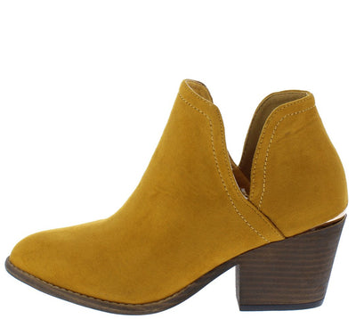 Camila200 Mustard Almond Toe Side Cut Ankle Boot - Wholesale Fashion Shoes