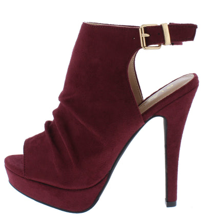 Ollie11 Wine Suede Women's Heel - Wholesale Fashion Shoes