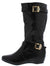 Yvette139 Black Pu Multi Strap Diamond Quilted Calf Boot