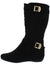Yvette139 Black Suede Multi Strap Diamond Quilted Calf Boot