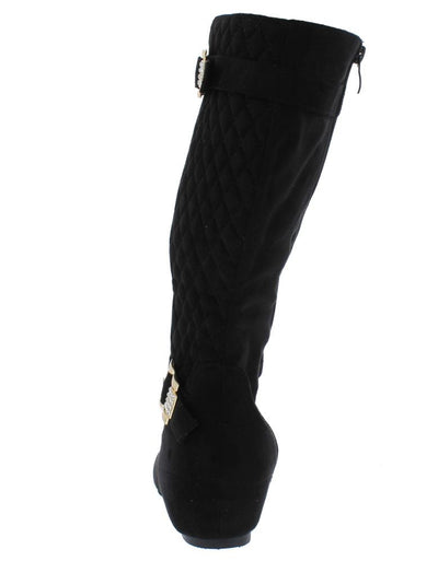 Yvette139 Black Suede Multi Strap Diamond Quilted Calf Boot - Wholesale Fashion Shoes