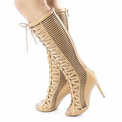 Onelove23 Natural Open Toe Multi Cut Out Lace Up Knee High Boot - Wholesale Fashion Shoes