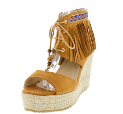 OPAVA CAMEL OPEN TOE FRINGE BEAD TRIBAL JUTE WRAPPED HEEL - Wholesale Fashion Shoes