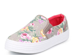 LEXI GREY FLORAL SLIP ON SNEAKER FLAT - Wholesale Fashion Shoes