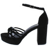 Oprah Black Suede Knotted Strappy Open Toe Platform Heel - Wholesale Fashion Shoes