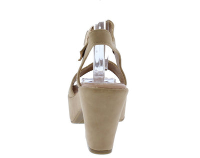 Orbit01m Natural Open Toe Short Chunky Platform Heel - Wholesale Fashion Shoes