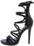 Origin Black Strappy Open Toe Extended Ankle Stiletto Heel