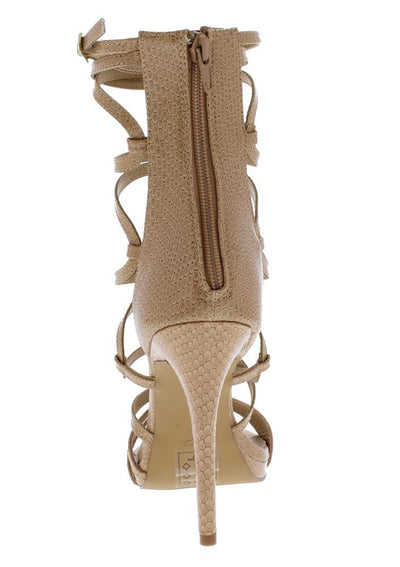 Origin Nude Strappy Open Toe Extended Ankle Stiletto Heel - Wholesale Fashion Shoes