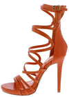 Origin Orange Strappy Open Toe Extended Ankle Stiletto Heel - Wholesale Fashion Shoes