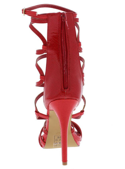 Origin Red Strappy Open Toe Extended Ankle Stiletto Heel - Wholesale Fashion Shoes