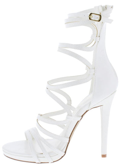 Origin White Strappy Open Toe Extended Ankle Stiletto Heel - Wholesale Fashion Shoes