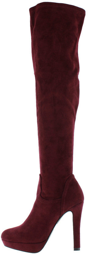 Maddy1 Plum Almond Toe Platform Heel Knee High Boot - Wholesale Fashion Shoes
