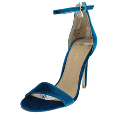 OSCAR12A TEAL VELVET WOMEN'S HEEL - Wholesale Fashion Shoes