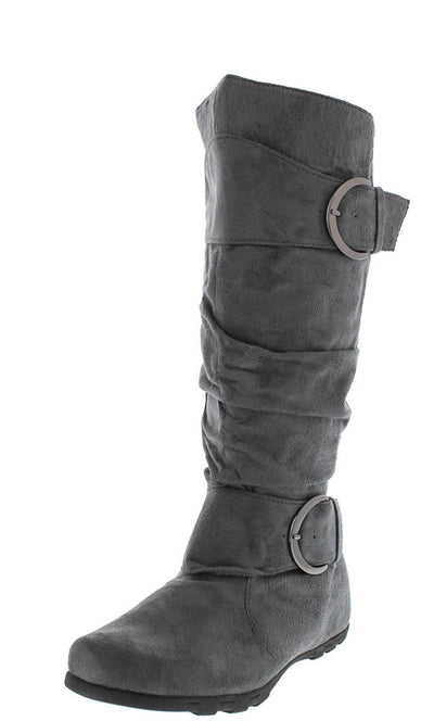 Oslo Grey Buckled Slouchy Boot - Wholesale Fashion Shoes