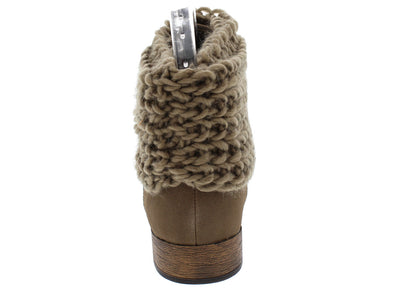 Oxford12 Taupe Knit Sweater Ankle Cuff Boot - Wholesale Fashion Shoes