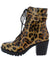 Milia262 Leopard Side Buckle Lace Up Combat Boot