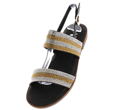 P0205 Black Rhinestone Stripe Sling Back Flat - Wholesale Fashion Shoes