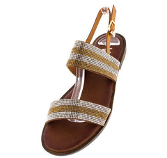 P0205 CAMEL RHINESTONE STRIPE SLING BACK FLAT - Wholesale Fashion Shoes