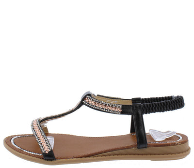 P196 Black Rhinestone Studded Elastic Sling Back Sandal - Wholesale Fashion Shoes