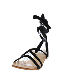 P301 BLACK BOHO VELVET WRAP WOMEN'S SANDAL - Wholesale Fashion Shoes