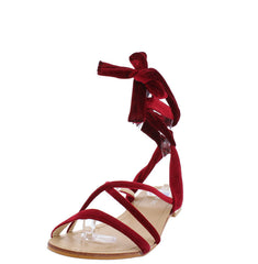 P301 MAROON BOHO VELVET WRAP WOMEN'S SANDAL - Wholesale Fashion Shoes