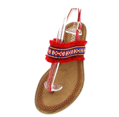 P909 Red Embroidery Frayed Thong Sling Back Sandal - Wholesale Fashion Shoes