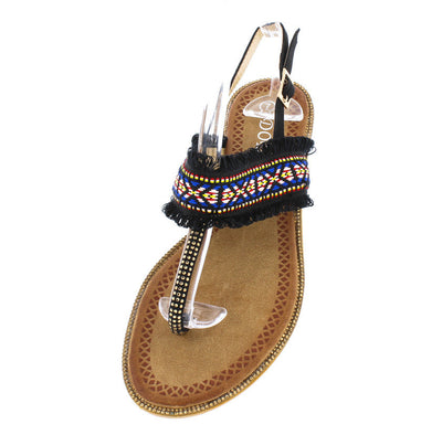 P909 Black Embroidery Frayed Thong Sling Back Sandal - Wholesale Fashion Shoes