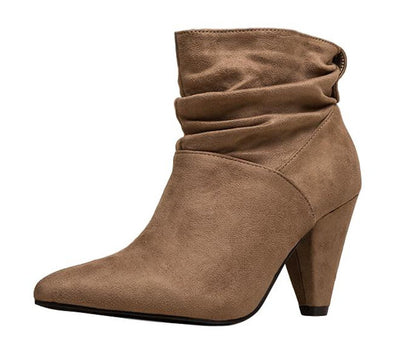 Alexa077 Taupe Suede Pointed Toe Slouch Ankle Boot - Wholesale Fashion Shoes