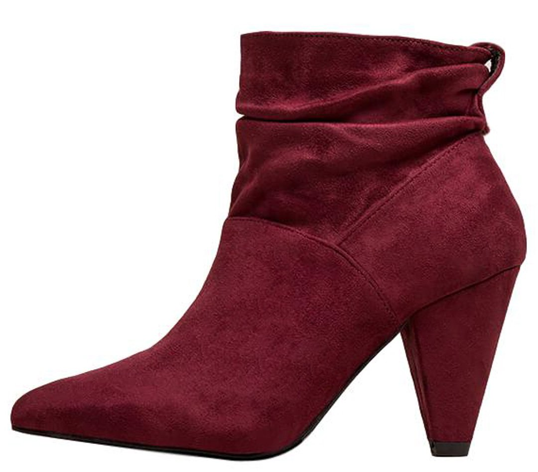 808e23a880f92 Alexa077 Wine Suede Pointed Toe Slouch Ankle Boot - Wholesale Fashion Shoes
