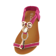 PECKO1524KS FUCHSIA T-STRAP INFANT SANDAL - Wholesale Fashion Shoes
