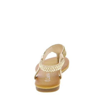 Pecko1619km Gold Glitter Gemstone Kids Sandal - Wholesale Fashion Shoes