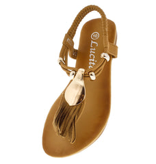 PECKO1649KM CAMEL FRINGE BEADED KIDS SANDAL - Wholesale Fashion Shoes