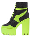 Penni Lime Lace Up Platform Combat Boot - Wholesale Fashion Shoes
