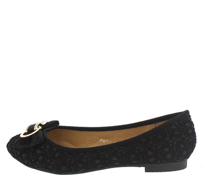 Perks Black Lace Bow Flat - Wholesale Fashion Shoes