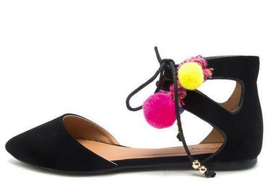 Pika98 Black Nubuck Pu Pompom Cut Out D Orsay Flat - Wholesale Fashion Shoes