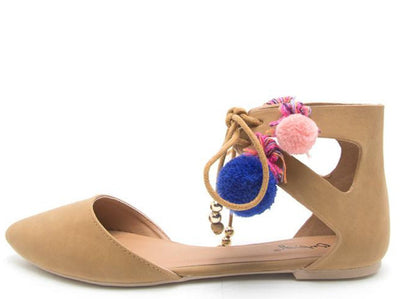 Pika98 Camel Nubuck Pu Pompom Cut Out D Orsay Flat - Wholesale Fashion Shoes