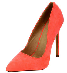 GRACE NEON CORAL POINTED TOE STILETTO HEEL - Wholesale Fashion Shoes - 2