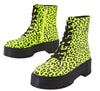 Poppin Neon Yellow Lace Up Lug Sole Boot - Wholesale Fashion Shoes