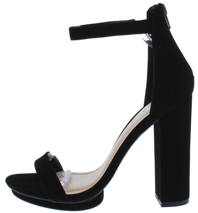 Pace02 Black Open Toe Ankle Strap Tall Block Heel - Wholesale Fashion Shoes