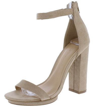 Pace02 Natural Open Toe Ankle Strap Tall Block Heel - Wholesale Fashion Shoes